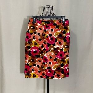 ANN TAYLOR Abstract Poppy Floral Pencil Skirt